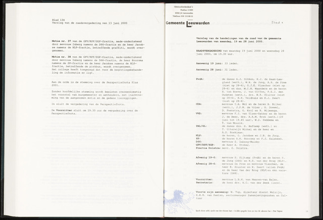 Raadsverslagen van de gemeente Leeuwarden, 1865-2007 (Notulen) 2000-06-19