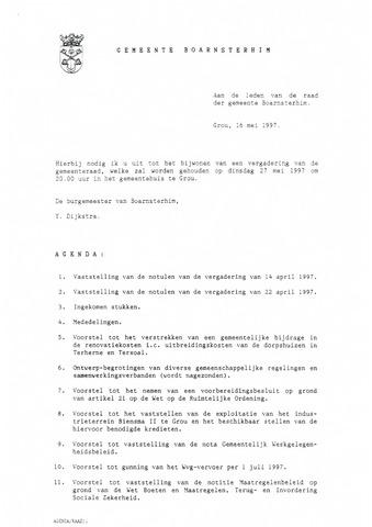 Boarnsterhim vergaderstukken gemeenteraad  1997-05-27