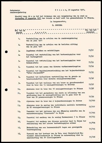 Notulen van de gemeenteraad van Leeuwarderadeel 1971-08-26