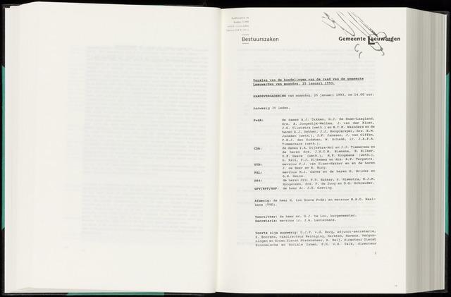 Raadsverslagen van de gemeente Leeuwarden, 1865-2007 (Notulen) 1993-01-25