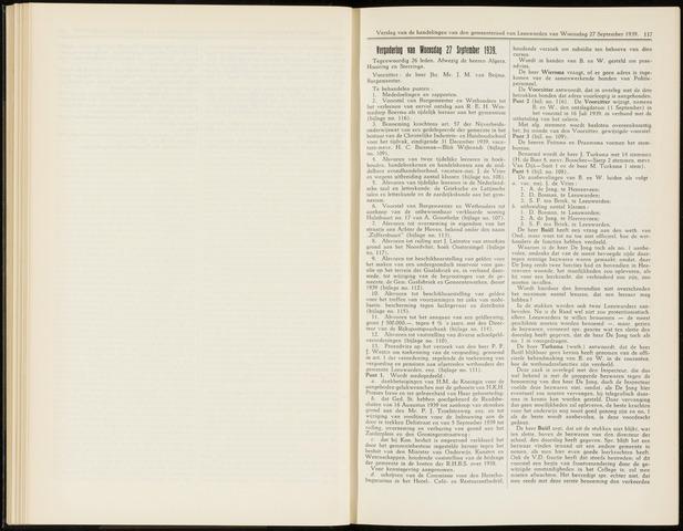 Raadsverslagen van de gemeente Leeuwarden, 1865-2007 (Notulen) 1939-09-27