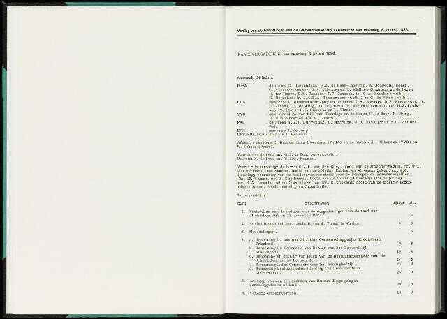 Raadsverslagen van de gemeente Leeuwarden, 1865-2007 (Notulen) 1986