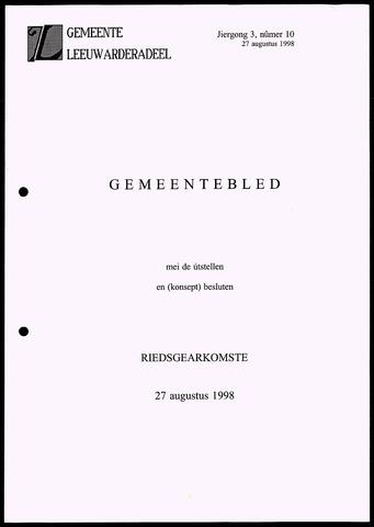 Notulen van de gemeenteraad van Leeuwarderadeel 1998-08-27