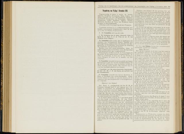 Raadsverslagen van de gemeente Leeuwarden, 1865-2007 (Notulen) 1918-11-01