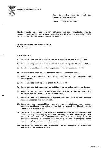 Boarnsterhim vergaderstukken gemeenteraad  1988-09-13