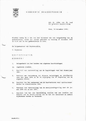 Boarnsterhim vergaderstukken gemeenteraad  1993-12-20