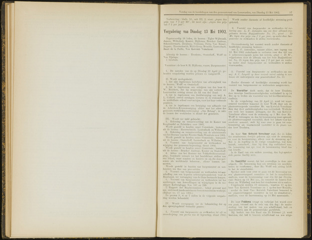 Raadsverslagen van de gemeente Leeuwarden, 1865-2007 (Notulen) 1902-05-13