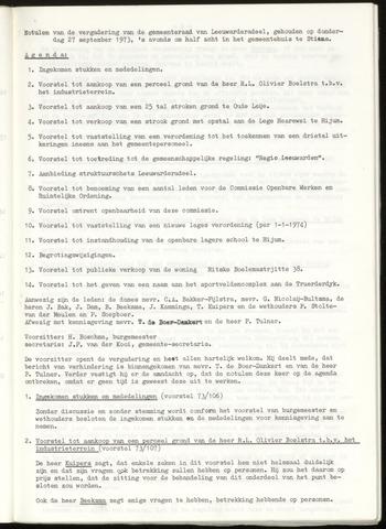 Notulen van de gemeenteraad van Leeuwarderadeel 1973-09-27