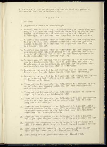 Notulen van de gemeenteraad van Leeuwarderadeel 1954-12-09