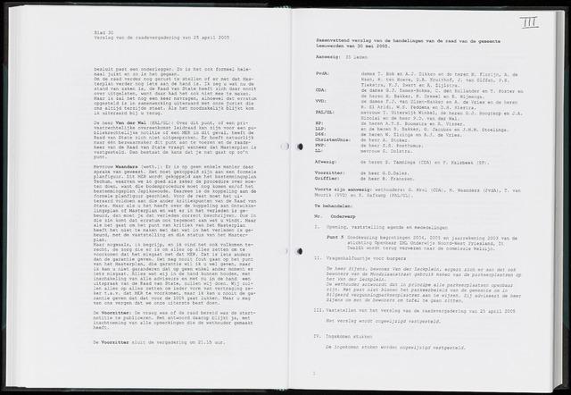 Raadsverslagen van de gemeente Leeuwarden, 1865-2007 (Notulen) 2005-05-30