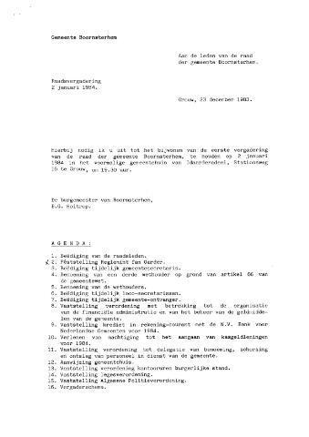 Boarnsterhim vergaderstukken gemeenteraad  1984-01-02