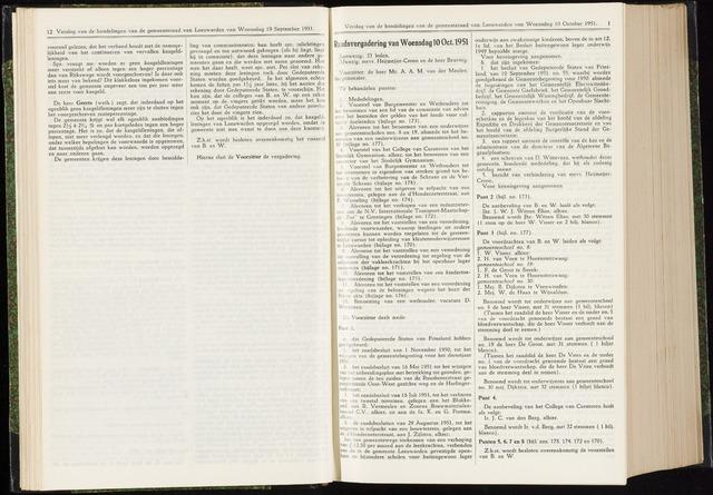 Raadsverslagen van de gemeente Leeuwarden, 1865-2007 (Notulen) 1951-10-10