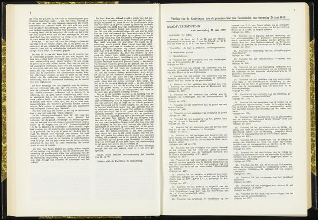 Raadsverslagen van de gemeente Leeuwarden, 1865-2007 (Notulen) 1959-06-24