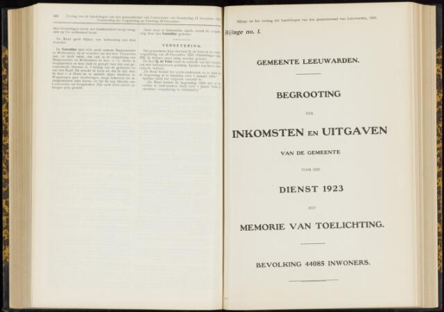 Raadsverslagen van de gemeente Leeuwarden, 1865-2007 (Bijlagen) 1923-01-01