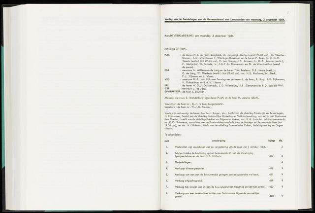 Raadsverslagen van de gemeente Leeuwarden, 1865-2007 (Notulen) 1984-12-03