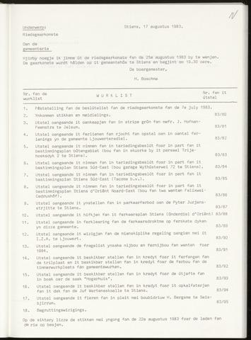 Notulen van de gemeenteraad van Leeuwarderadeel 1983-08-25