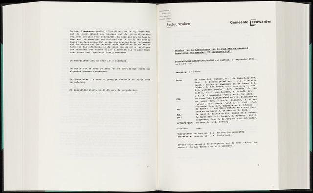 Raadsverslagen van de gemeente Leeuwarden, 1865-2007 (Notulen) 1993-09-27