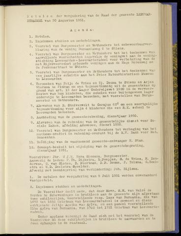 Notulen van de gemeenteraad van Leeuwarderadeel 1951-08-30