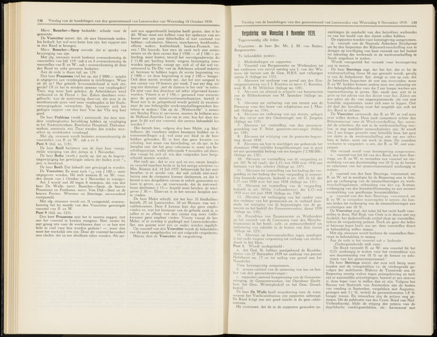Raadsverslagen van de gemeente Leeuwarden, 1865-2007 (Notulen) 1939-11-08
