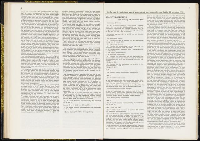 Raadsverslagen van de gemeente Leeuwarden, 1865-2007 (Notulen) 1956-11-20