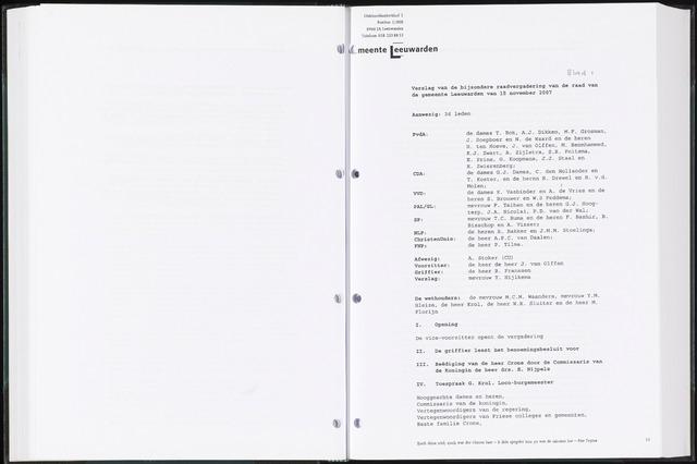 Raadsverslagen van de gemeente Leeuwarden, 1865-2007 (Notulen) 2007-11-15