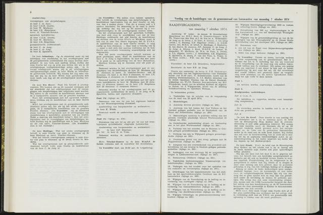 Raadsverslagen van de gemeente Leeuwarden, 1865-2007 (Notulen) 1974-10-07