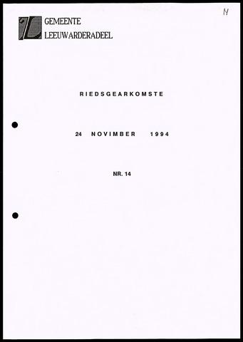 Notulen van de gemeenteraad van Leeuwarderadeel 1994-11-24