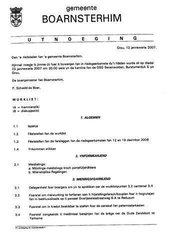 Boarnsterhim vergaderstukken gemeenteraad  2007-01-23