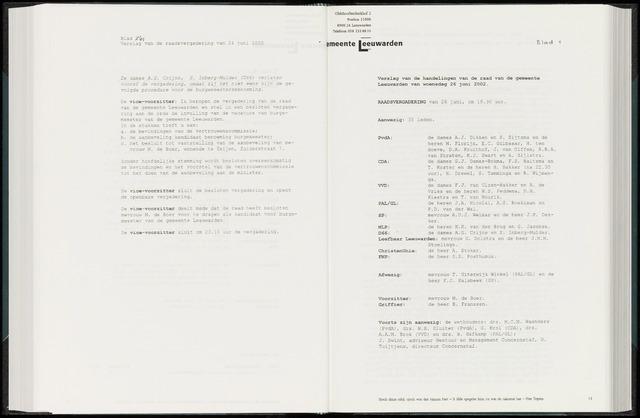 Raadsverslagen van de gemeente Leeuwarden, 1865-2007 (Notulen) 2002-06-26