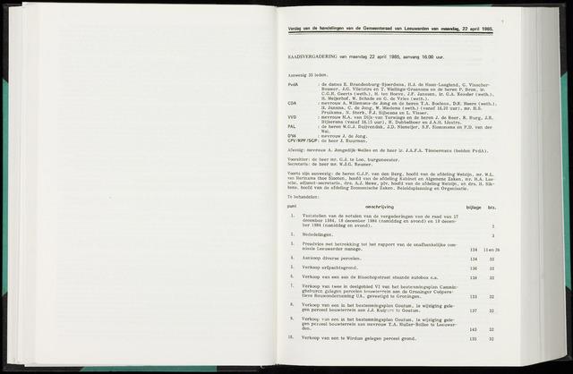 Raadsverslagen van de gemeente Leeuwarden, 1865-2007 (Notulen) 1985-04-22