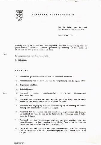 Boarnsterhim vergaderstukken gemeenteraad  1993-05-18
