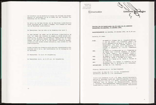 Raadsverslagen van de gemeente Leeuwarden, 1865-2007 (Notulen) 1992-10-26
