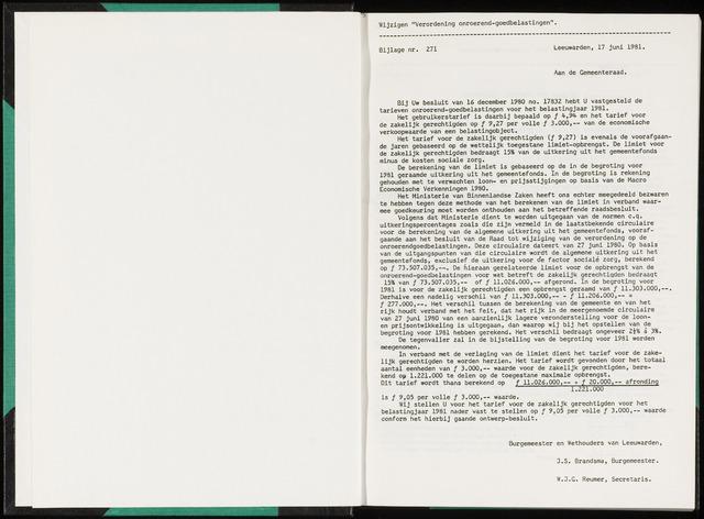 Raadsverslagen van de gemeente Leeuwarden, 1865-2007 (Bijlagen) 1981-01-01