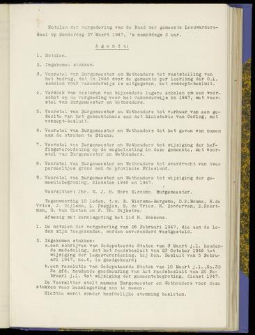 Notulen van de gemeenteraad van Leeuwarderadeel 1947-03-27