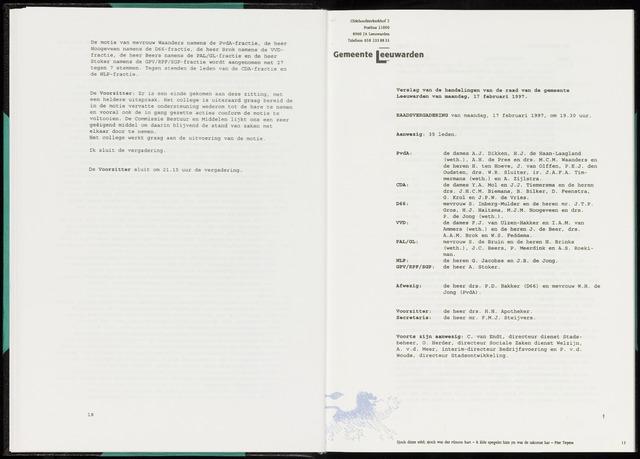 Raadsverslagen van de gemeente Leeuwarden, 1865-2007 (Notulen) 1997-02-17