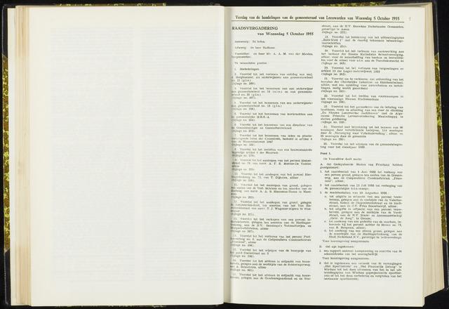 Raadsverslagen van de gemeente Leeuwarden, 1865-2007 (Notulen) 1955-10-05