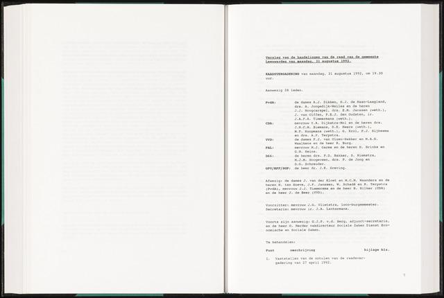 Raadsverslagen van de gemeente Leeuwarden, 1865-2007 (Notulen) 1992-08-31