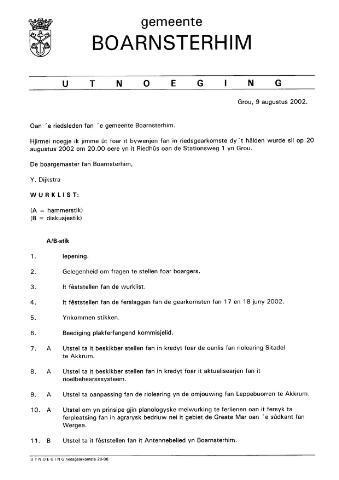 Boarnsterhim vergaderstukken gemeenteraad  2002-08-20