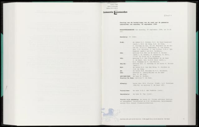 Raadsverslagen van de gemeente Leeuwarden, 1865-2007 (Notulen) 1998-09-28
