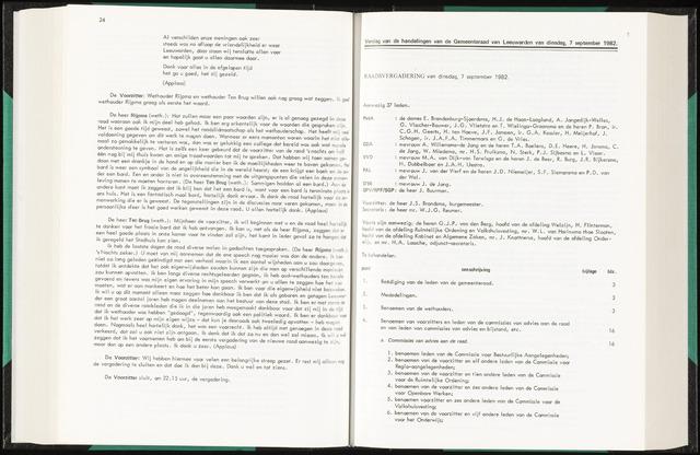 Raadsverslagen van de gemeente Leeuwarden, 1865-2007 (Notulen) 1982-09-07