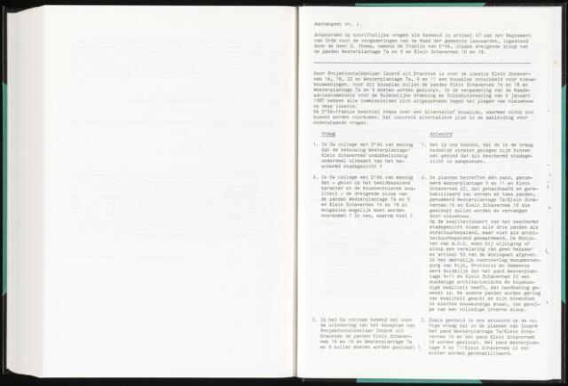 Raadsverslagen van de gemeente Leeuwarden, 1865-2007 (Schriftelijke vragen) 1987