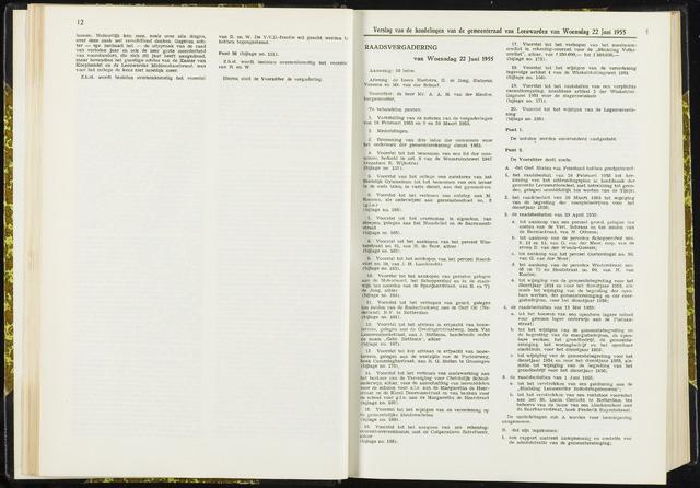 Raadsverslagen van de gemeente Leeuwarden, 1865-2007 (Notulen) 1955-06-22