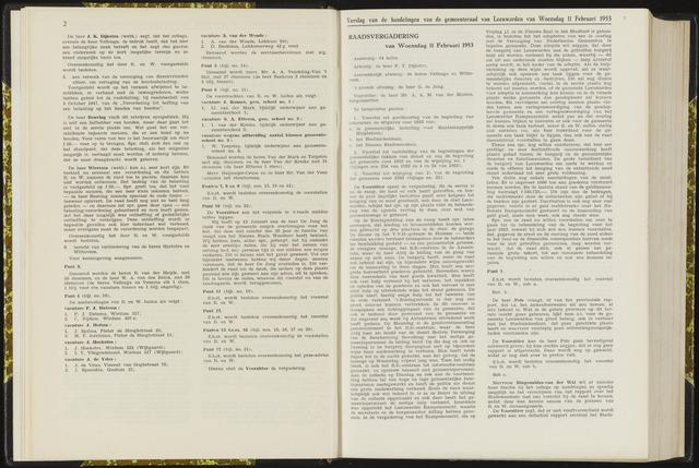 Raadsverslagen van de gemeente Leeuwarden, 1865-2007 (Notulen) 1953-02-11