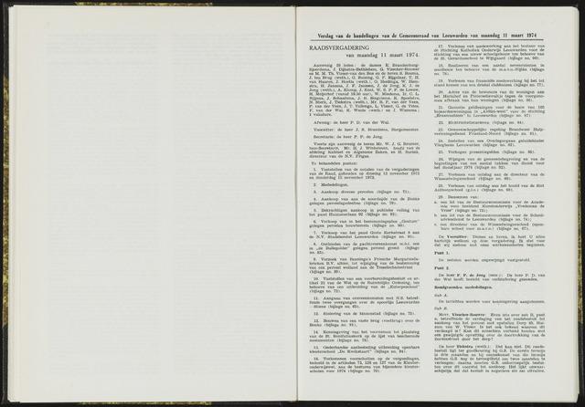 Raadsverslagen van de gemeente Leeuwarden, 1865-2007 (Notulen) 1974-03-11
