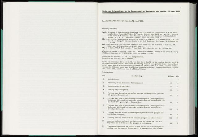 Raadsverslagen van de gemeente Leeuwarden, 1865-2007 (Notulen) 1986-03-10
