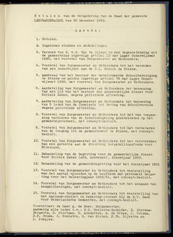 Notulen van de gemeenteraad van Leeuwarderadeel 1952-12-30