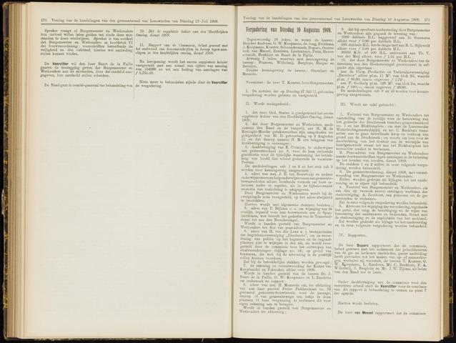 Raadsverslagen van de gemeente Leeuwarden, 1865-2007 (Notulen) 1909-08-10