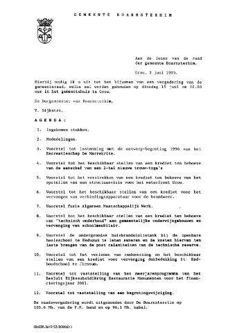 Boarnsterhim vergaderstukken gemeenteraad  1995-06-15