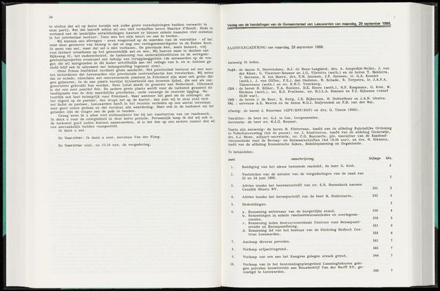 Raadsverslagen van de gemeente Leeuwarden, 1865-2007 (Notulen) 1986-09-29