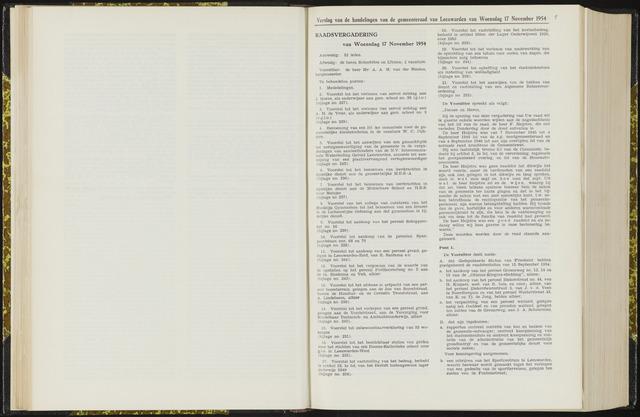 Raadsverslagen van de gemeente Leeuwarden, 1865-2007 (Notulen) 1954-11-17